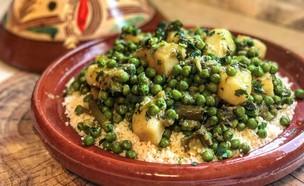 קוסקוס עם תבשיל אפונה וארטישוק ירושלמי (צילום: רעות עזר, אוכל טוב)