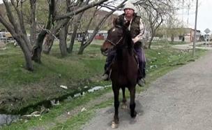 נוסע לעבודה עם סוס במקום מכונית. צפו (צילום: חדשות)