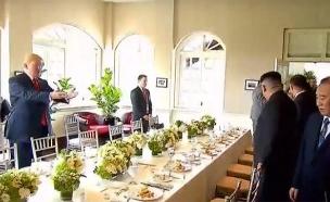 הסעודה בין המנהיגים במלון בסינגפור (צילום: SKY NEWS, חדשות)