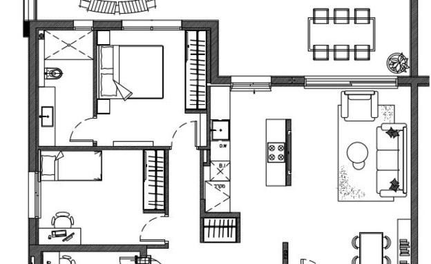 דירה בכפר סבא, עיצוב נטע-לי נוי, תוכנית אחרי (שרטוט: נטע-לי נוי)