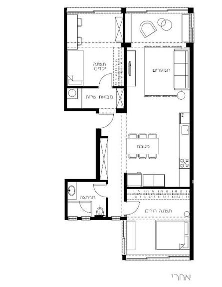דירה בנורדאו, ג, עיצוב מיכל גלברט דורון, תוכנית אחרי השיפוץ