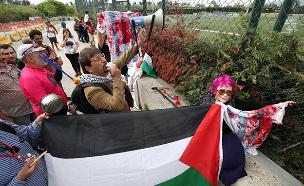 הפגנה של פרו פלסטינים נגד המשחק (צילום: רויטרס, חדשות)