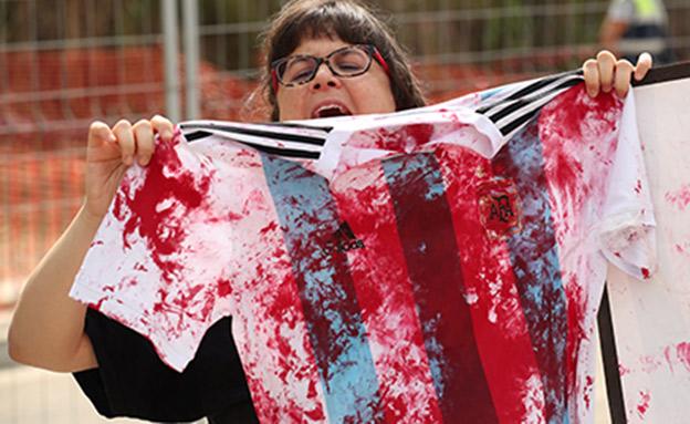 ההפגנות נגד נבחרת ארגנטינה (צילום: רויטרס, חדשות)