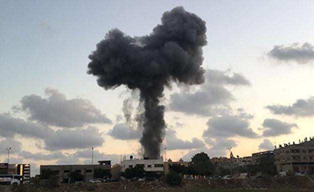 תיעוד תקיפת יעדי חמאס ברצועה (צילום: החדשות)