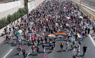 הפגנה של האוכלוסייה הגאה בתל אביב (צילום: פלאש 90, חדשות)