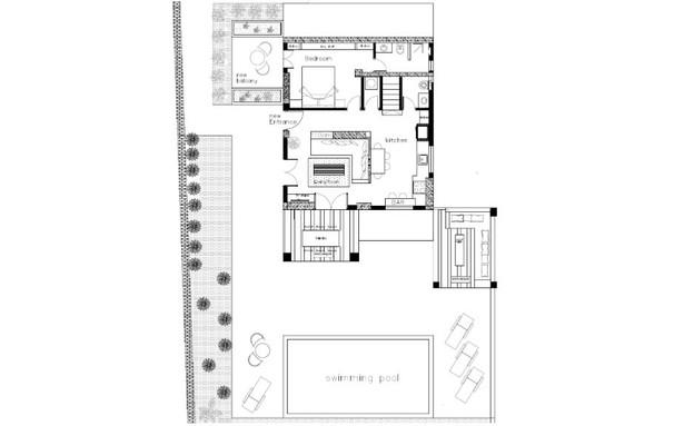 וילה בלפקאדה, עיצוב סיגל סיוון ידוב, תוכנית קומת הקרקע (שרטוט: סיגל סיוון ידוב)