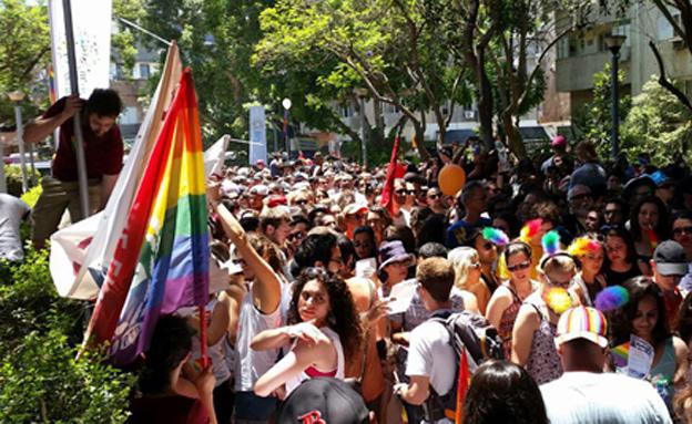 """מצעד גאווה. """"ברוטליות"""" (צילום: עזרי עמרם, חדשות 2)"""