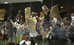 מהומה בדיון בכנסת על חוק הלאום (צילום: הלל מאיר/TPS, חדשות)