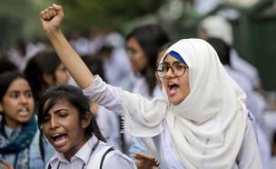 הפגנת תלמידים בבנגלדש נגד תאונות דרכים, 2018 (צילום: ap)