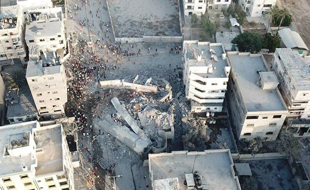 תיעוד השמדת הבניין - האירוע שהשיג את השקט (צילום: חדשות)