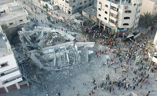 """הרס בעזה לאחר הפצצת צה""""ל בשבוע שעבר (צילום: חדשות)"""