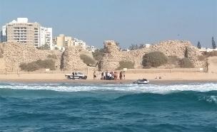 החוף בו טבע יוחאי אלקיים למוות (צילום: דוברות המשטרה, חדשות)