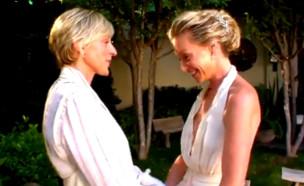 אלן דג'נרס ופורשיה דה-רוסי מתחתנות (צילום: מתוך טוויטר)