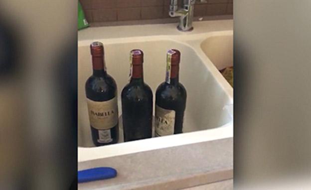 בקבוקי היין בהן יובא הסם