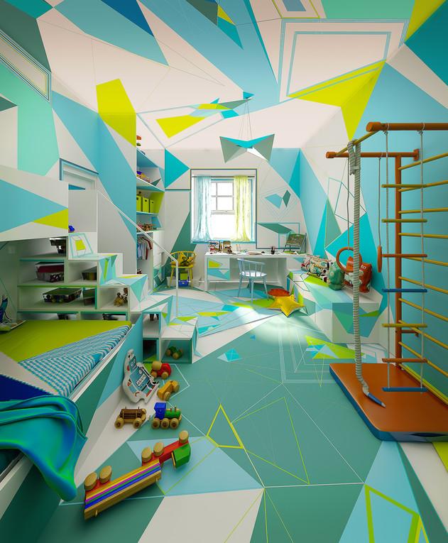 בית צבעוני, ג, חדר בן, עיצוב Studio Brani & Desi