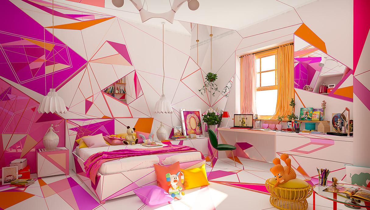 בית צבעוני, חדר בת, עיצוב Studio Brani & Desi