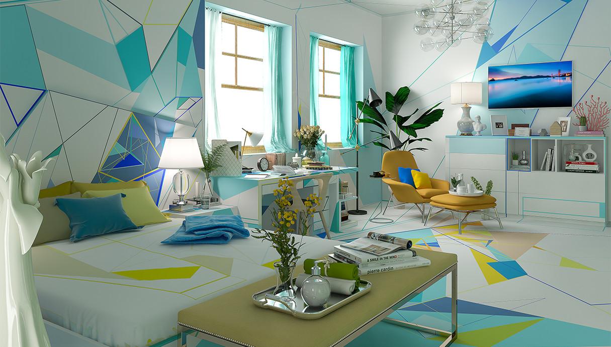 1 - בית צבעוני, חדר הורים, עיצוב Studio Brani & Desi