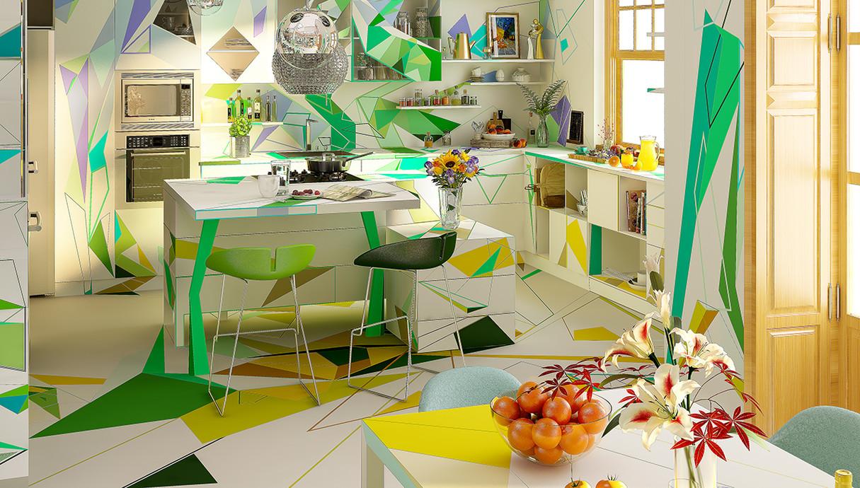 בית צבעוני, מטבח, עיצוב Studio Brani & Desi