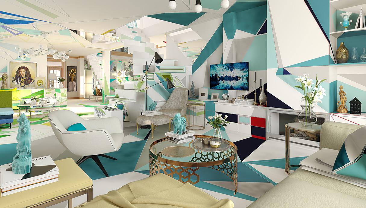 1 - בית צבעוני, סלון, עיצוב Studio Brani & Desi