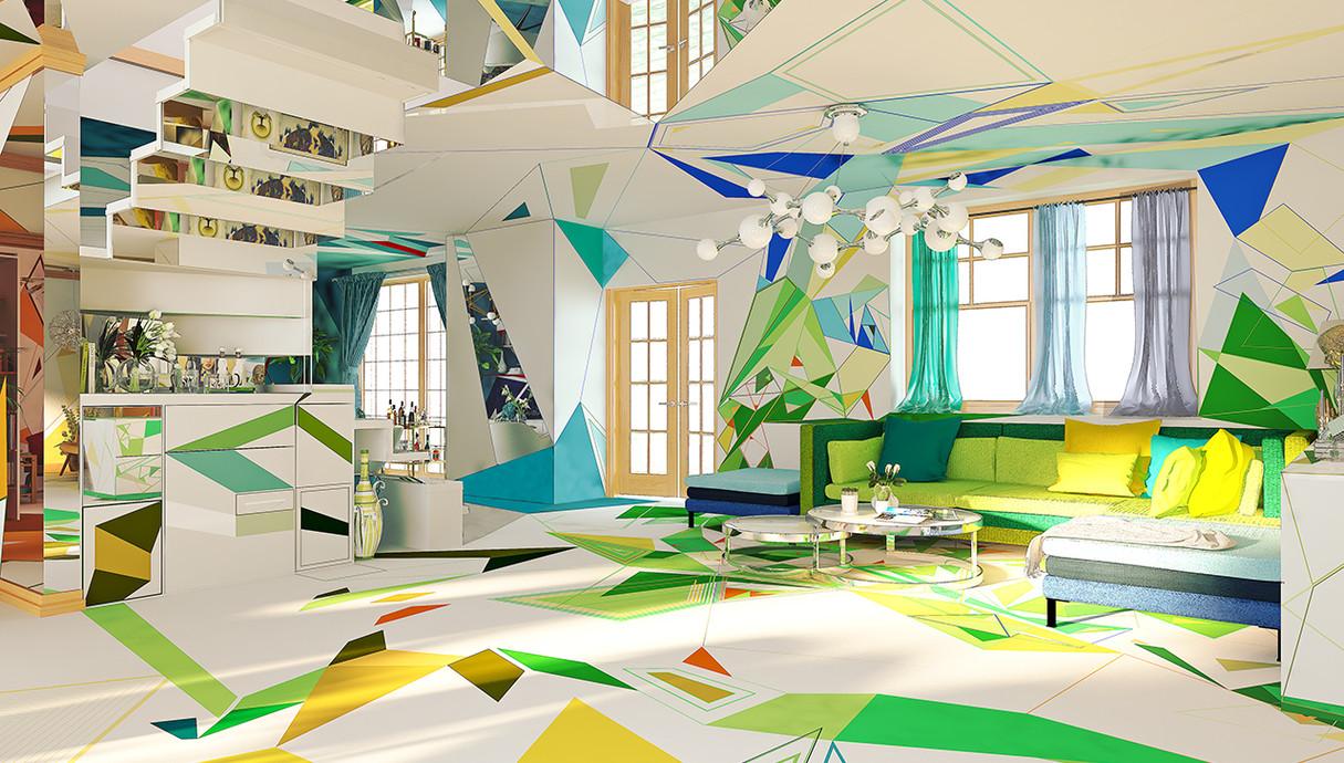 2 - בית צבעוני, סלון, עיצוב Studio Brani & Desi