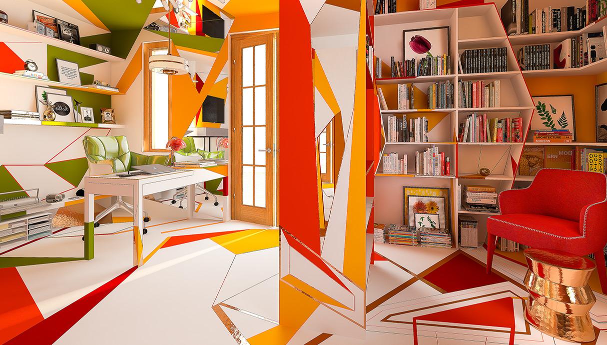 בית צבעוני, ספרייה, עיצוב Studio Brani & Desi