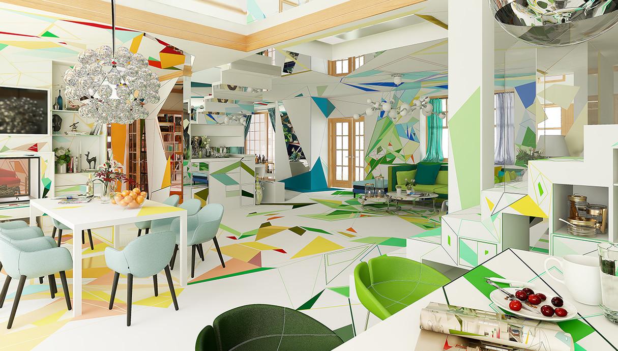 בית צבעוני, פינת אוכל, עיצוב Studio Brani & Desi