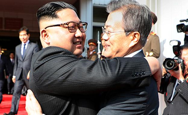 מנהיגי דרום וצפון קוריאה (צילום: AP, חדשות)