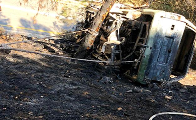 גופה התגלתה ברכב בוער ברמת הגולן (צילום: דוברות כבאות והצלה מחוז צפון, חדשות)