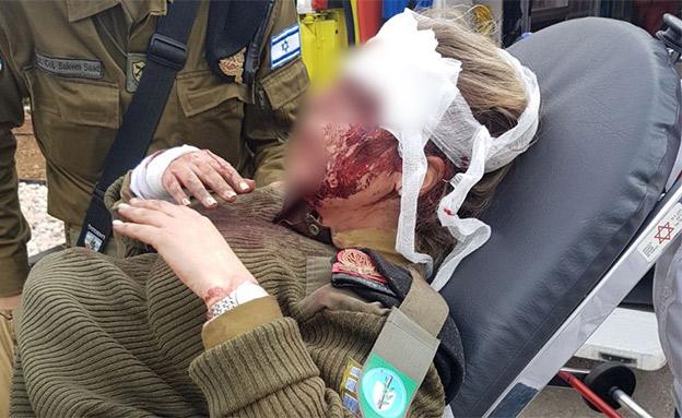 החיילת שהותקפה בג'נין, פברואר השנה (צילום: חדשות)