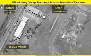 תוצאות התקיפה הישראלית בלטקיה שבסוריה (צילום: ImageSat International (ISI, חדשות)