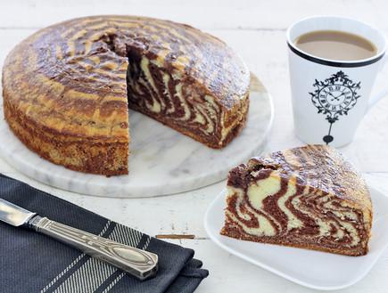 עוגת זברה עם ממרח שוקולד