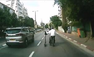 תיעוד: סכנת האופניים החשמליים בכביש (צילום: באדיבות אור ירוק, חדשות)