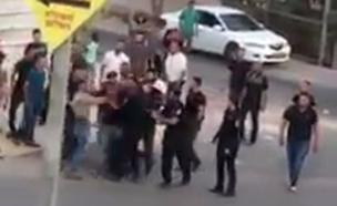 שוטר סוטר למפגין אזוק (צילום: panet, חדשות)