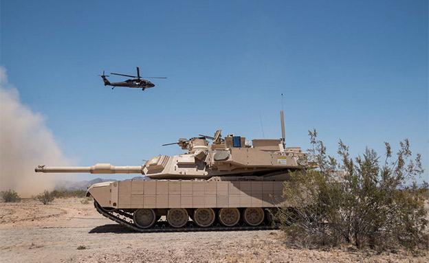 """מערכת """"מעיל רוח"""" על טנק אמריקני (צילום: רפאל, חדשות)"""