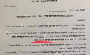 מכתב בית הספר לתלמידים (צילום: ניצן וויסברג, פייסבוק)
