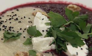 מרק שורשים אדום לבן ופטה (צילום: מתוך