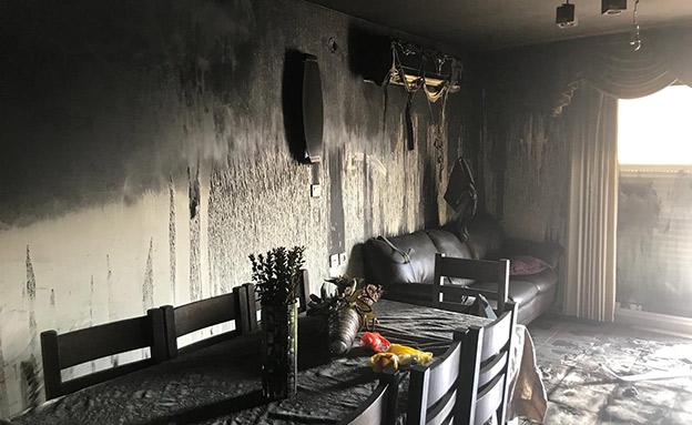הדירה שעלתה באש (צילום: החדשות)