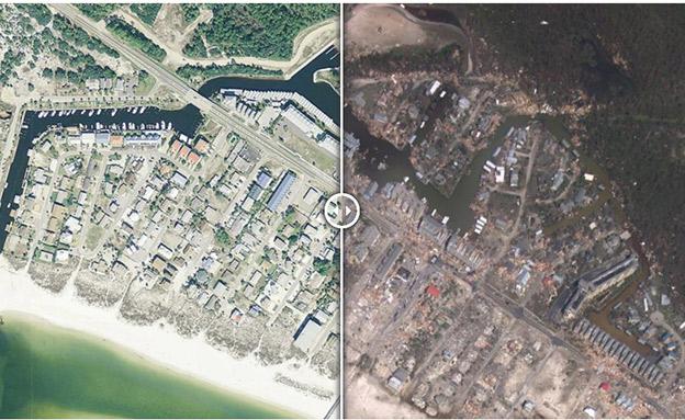 לפני ואחרי ההרס שהותירה הסופה (צילום: CNN, חדשות)