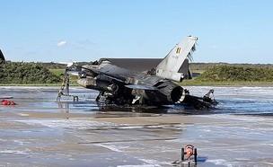 טכנאי הפציץ F-16 וגרם לשריפה חמורה (צילום: twitter)