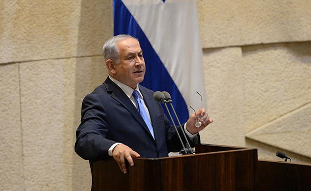 ראש הממשלה בנימין נתניהון נואם במליאה לזכרו של יצח (צילום: חיים צח / לע