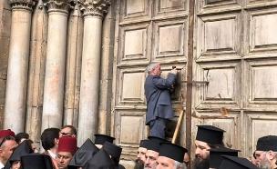 סגירת כנסיית הקבר בירושלים (ארכיון) (צילום: חדשות)