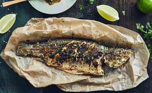 דג בס שלם במרינדה אסייתית  (צילום: אמיר מנחם, אוכל טוב)