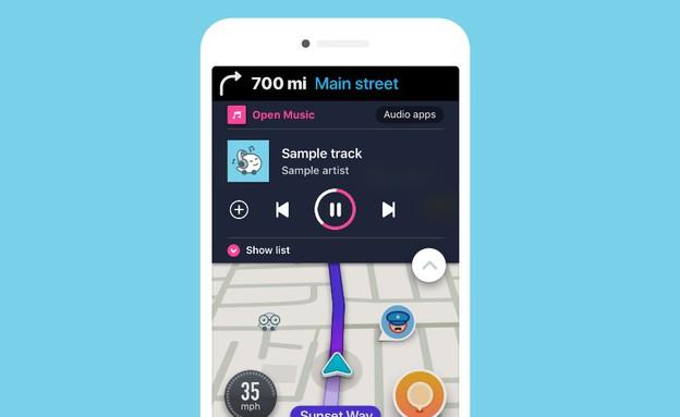 Waze משולב עם נגן מוזיקה (הדמיה: Waze)