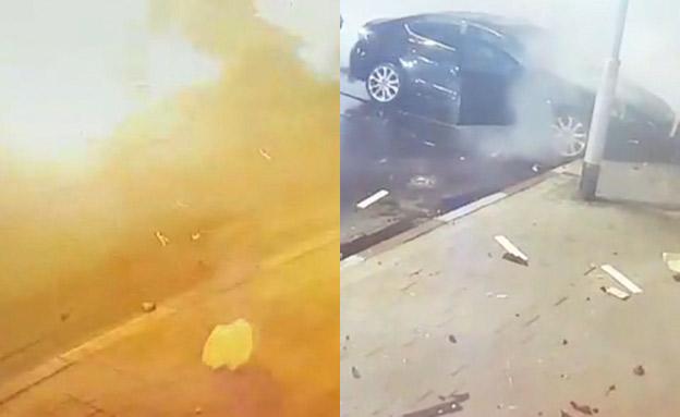 תיעוד הפיצוץ והשיחות המדאיגות. צפו (צילום: מצלמות אבטחה, חדשות)