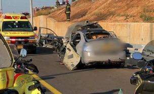 """פיצוץ הרכב בכביש החוף (צילום: דוברות מד""""א, חדשות)"""