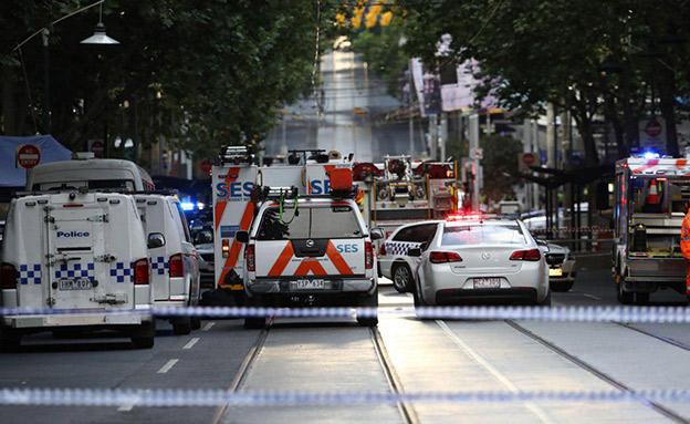 זירת הפיגוע במרכז העיר מלבורן (צילום: Sky News, חדשות)