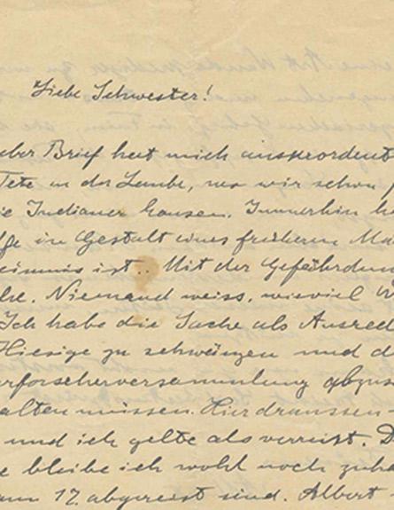המכתב שכתב איינשטיין לאחותו (צילום: בית המכירות הפומביות קדם, ירושלים, חדשות)