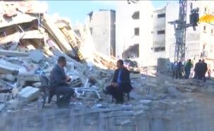 צפו: משדרים מהאולפן ההרוס (צילום: מתוך הטלוויזיה של חמאס, חדשות)