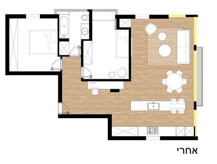 דירה בתל אביב, עיצוב בריק קווה אדריכלים, אחרי השיפוץ (שרטוט: בריק רווה)