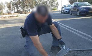 רקטה שהתפוצצה בשטח באשכול השבוע (צילום: דוברות המשטרה, חדשות)